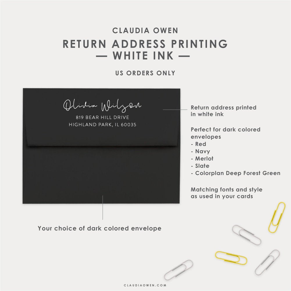 Return Address Printed on The Flap of Your Envelopes in White Ink, Personalized Envelopes With Your Name and Address