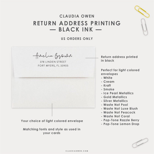 Return Address Printed on The Flap of Your Envelopes in Black Ink, Personalized Envelopes With Your Name and Address