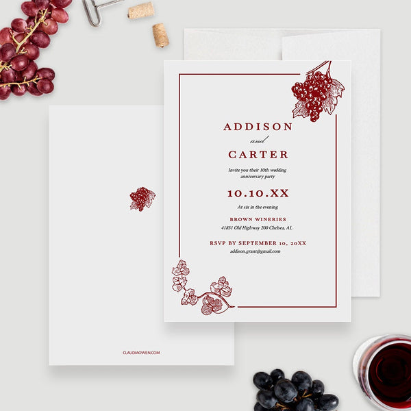 Wine Wedding Party Invitation Edit Yourself Template, Burgundy Vineyard Wedding Digital Download, Wine Bridal Shower Winery Wedding