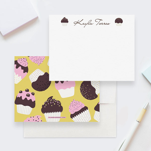 Cupcake Note Cards Custom Stationery Set Flat Note Cards For Kids Stationery, Cupcake Birthday Party Thank You Cards Cute Cupcake Gifts