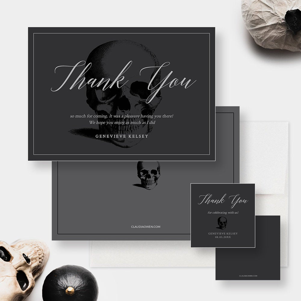 Thank You Notes Edit Yourself Template, Gift Tag Printable Digital Download, Death Party Skull Editable Thank You Card, Gift Favor Tag