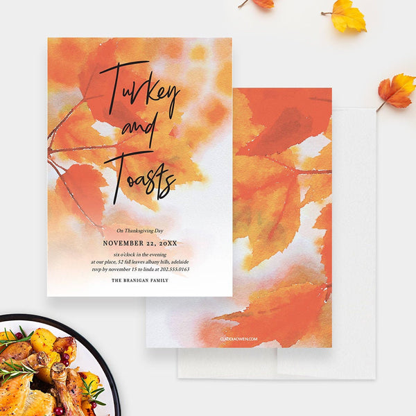 Turkey and Toasts Fall Leaves Thanksgiving Dinner Party Invitation Edit Yourself Template, Autumn Birthday Printable Digital Download