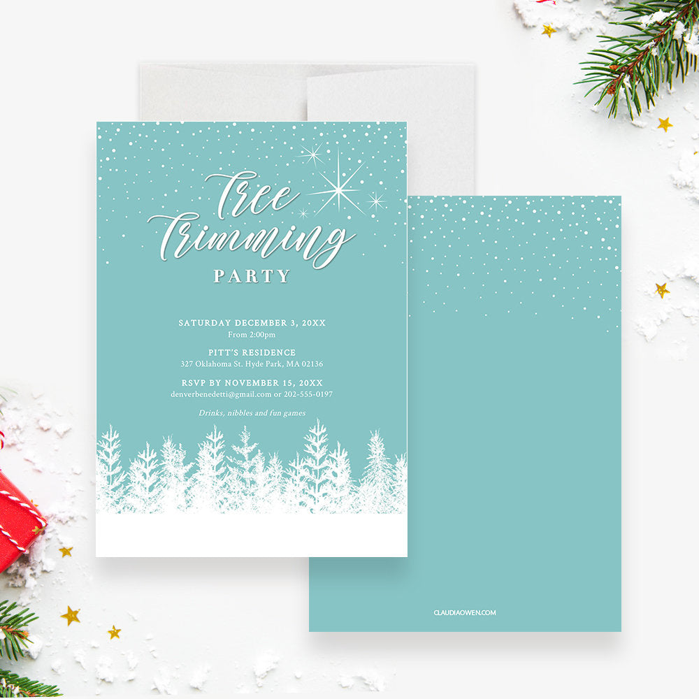 Tree Trimming Holiday Party Invitation Edit Yourself Template, Tree Decorating Printable Party Digital Download, White Christmas Tree