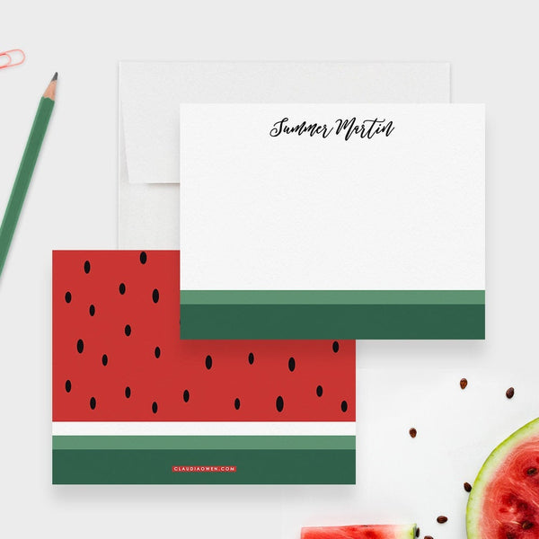 Watermelon Note Card Set Summer Custom Stationery Personalized Note Cards, Watermelon Fruit Flat Card Watermelon Birthday Gift