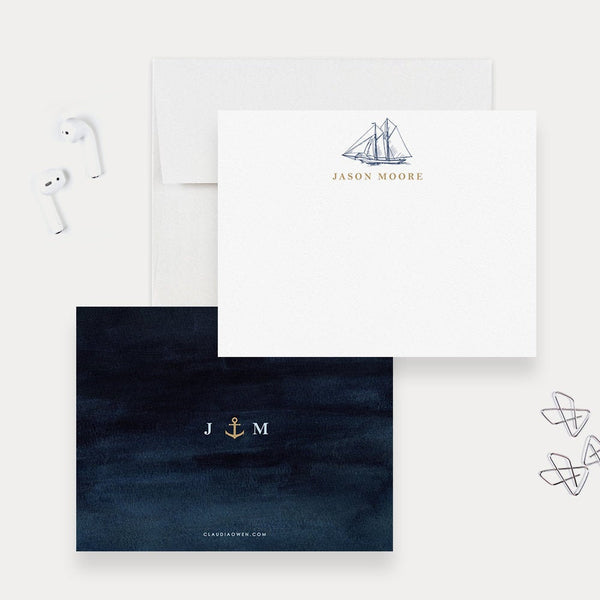 Sailing Boat Note Card Sailboat Sea Mens Stationery, Personalized Monogrammed Card Blue Ocean Nautical Stationery