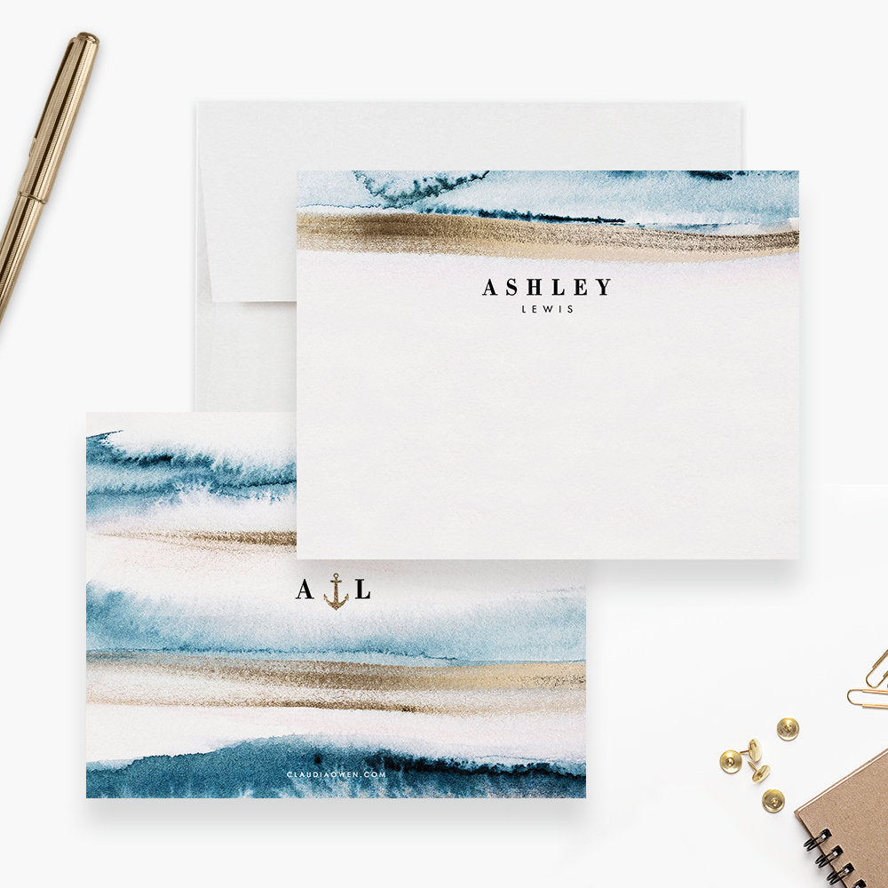 Personalized  Conch Shell  Beach  High Quality  12 Note Cards  Thank You Notes  Stationery