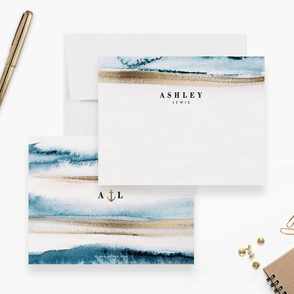 Nautical Flat Note Card Monogrammed Sea Stationery, Personalized Women's Beach Note Card Stationary, Custom Thank You Note