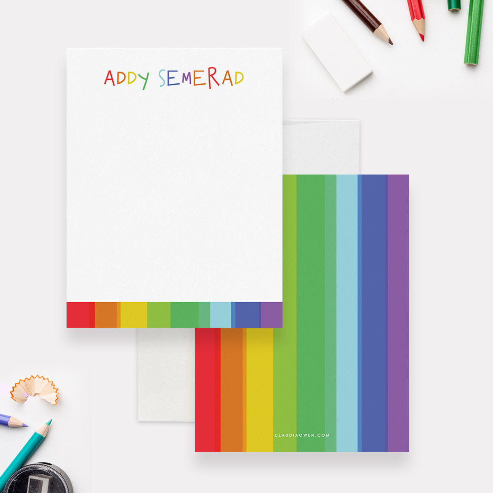 Personalized Rainbow Stationery for Girls, Colorful Note Card For Kids, Girl Stationery Fun Gift For Children Cute Note Card Thank You Note