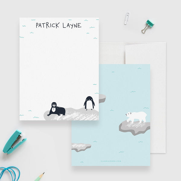 Polar Bear Stationery Set, Antarctica Iceberg Penguin Seal Personalized Kid's Note Card, North Pole Stationary Winter Thank You Note