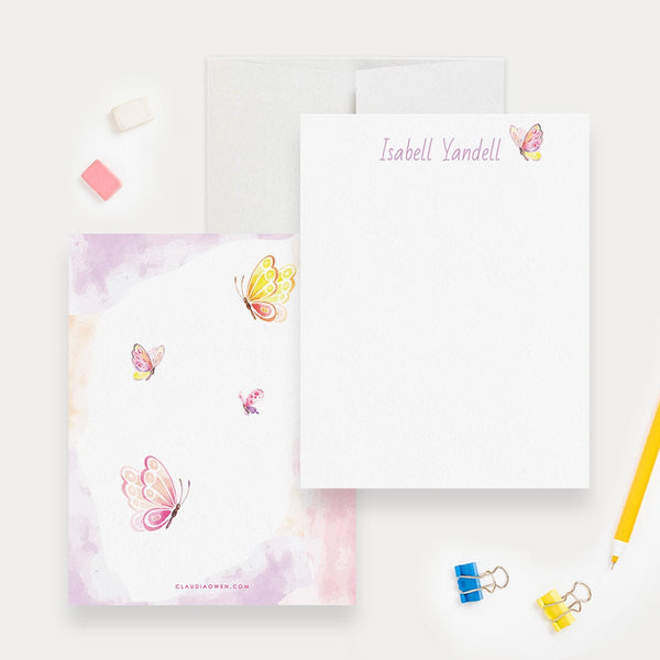 Personalized Butterfly Stationery For Girls, Custom Baby Thank You Cards, Cute Kids Stationary, Girl Note Card Gift For Children