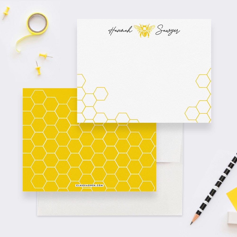 Bee Kids Stationery Personalized Bumble Bee Note Cards Thank You Card, Bee Birthday Gifts Bee Keeper Gift For Women Custom Notecard