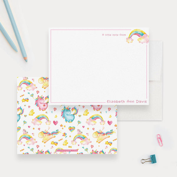 Personalized Unicorn Girl Stationery Note Card, Colorful Kids Stationery Cute Unicorn Note Card, Fun Gift For Children Rainbow and Hearts