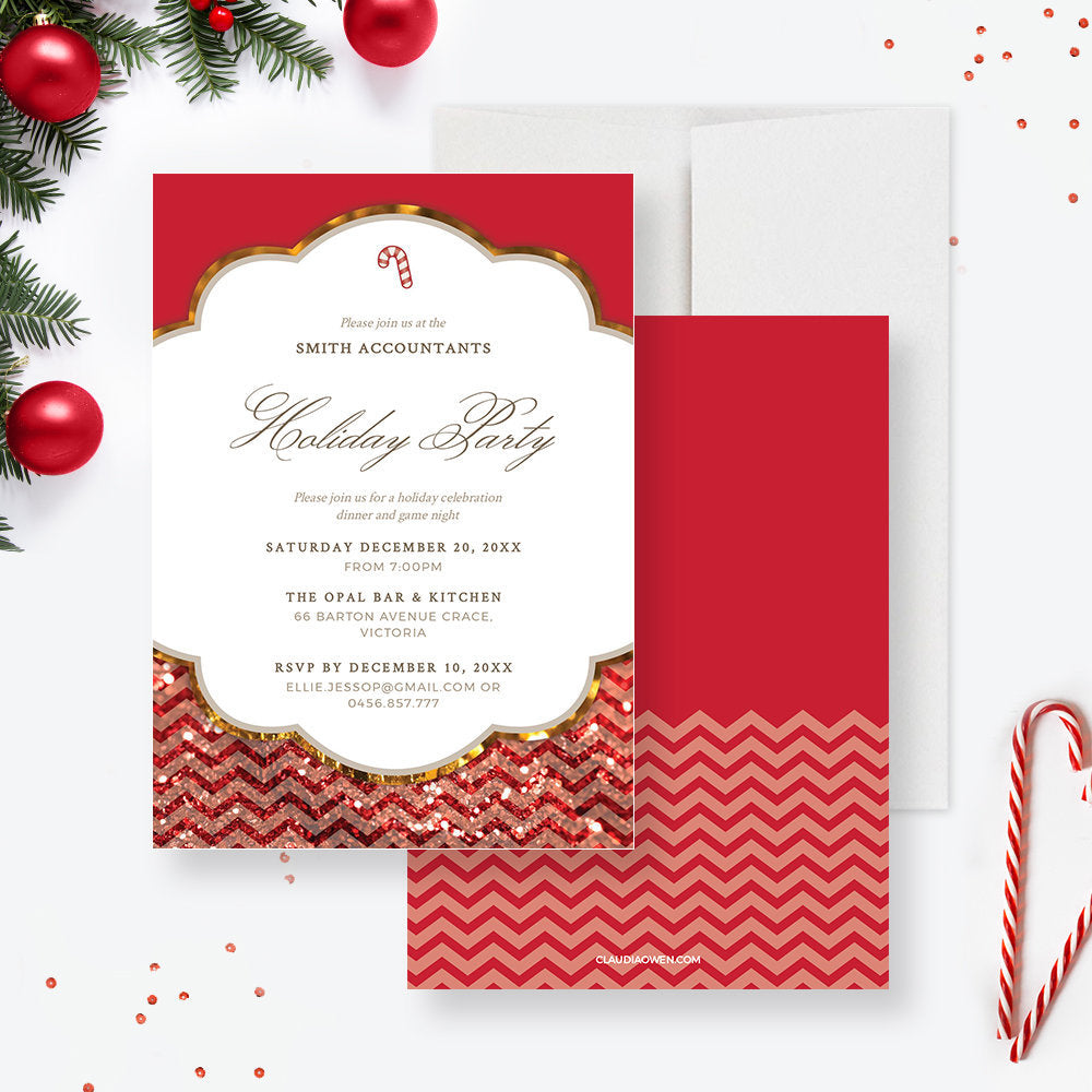 Work Holiday Party Invitation Edit Yourself Template, Work Christmas Dinner Printable Digital Download, Corporate Editable Invitation