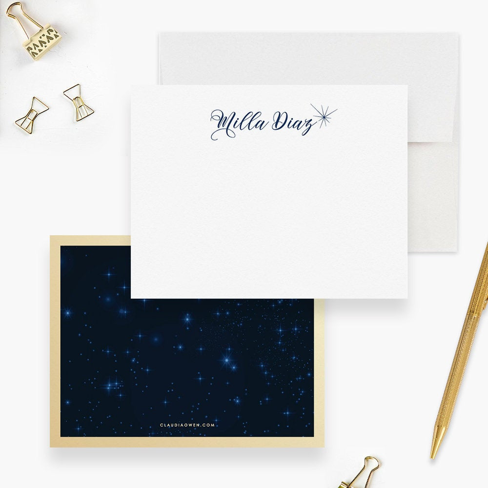 Starry Night Sky Personalized Note Card, Star Stationery Beautiful Girl's Custom Stationary Space Galaxy Stationery Set, Space Lover Gift