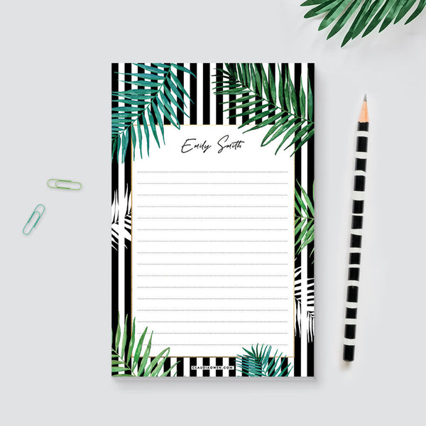 Tropical Personalized Notepad With Name, Botanical Custom Notepad Greenery Stationary Gift for Women To Do List Pad, Monogram Notepad