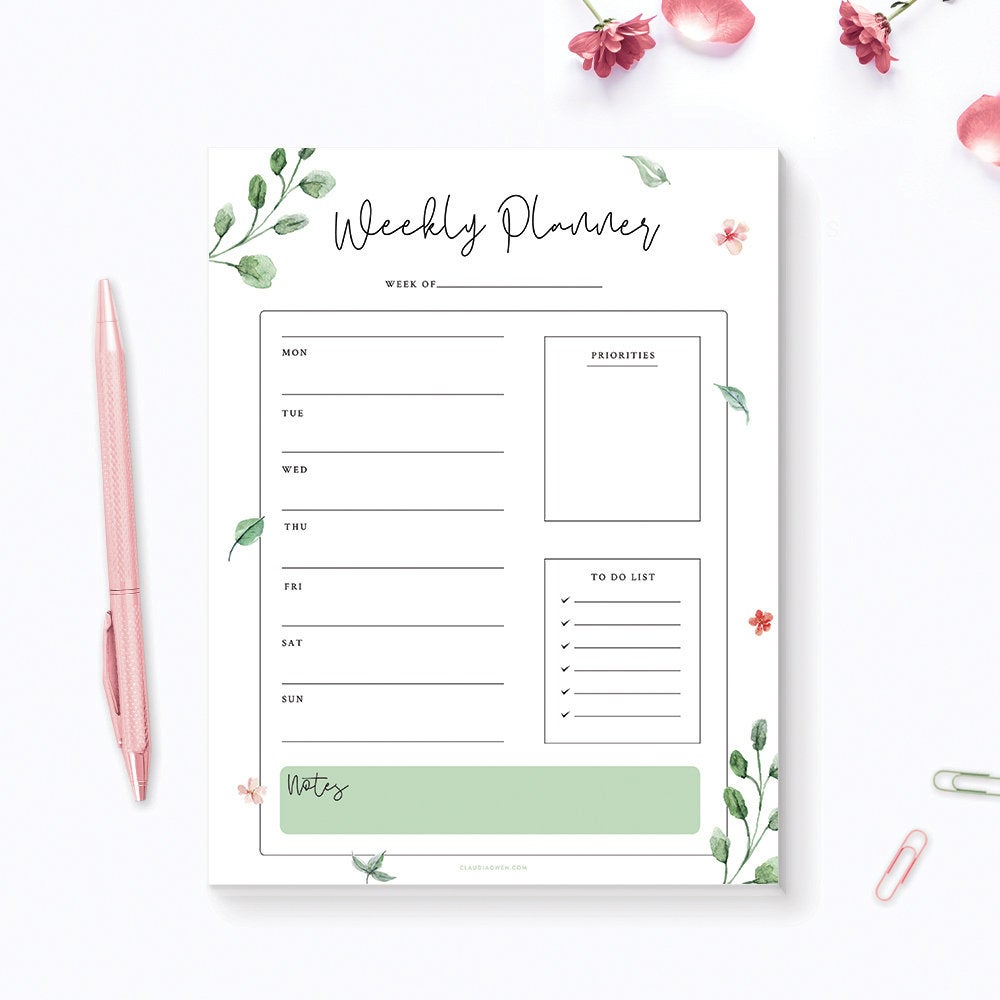 Weekly Personal Planner Customized Notepad, Greenery Personalized Desk Notepad, Floral To Do List Life Organizer Green Leaves Weekly Agenda