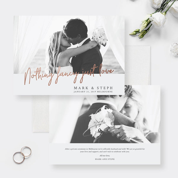 Nothing Fancy Just Love Elopement Announcement Edit Yourself Template, Photo Wedding Announcement  Digital Download, Just Married Newlyweds