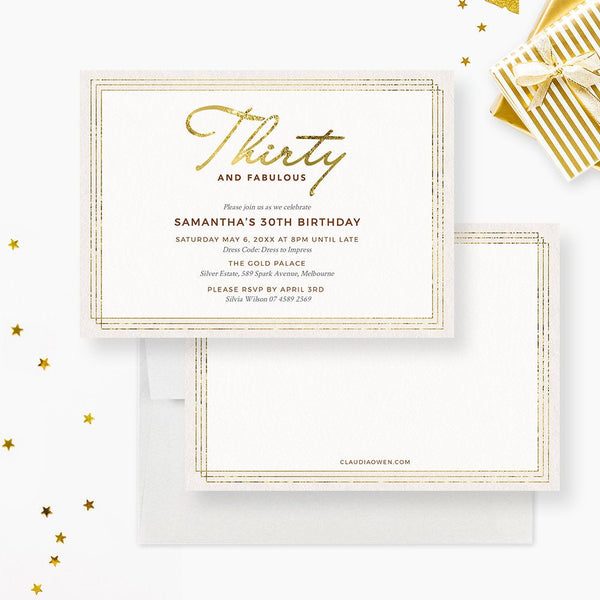 Thirty and Fabulous 30 Birthday Invitation Edit Yourself Template, 30th Party Invites Digital Download, Minimalist Design