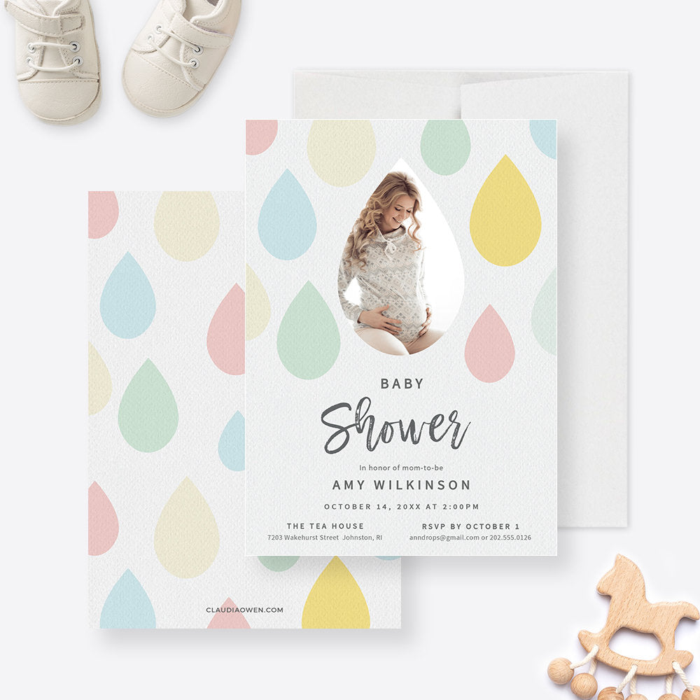 Photo Baby Shower Party Invitation Edit Yourself Template, Baby Boy Shower Invite Watercolor Raindrops Digital Download, Baby Girl Shower