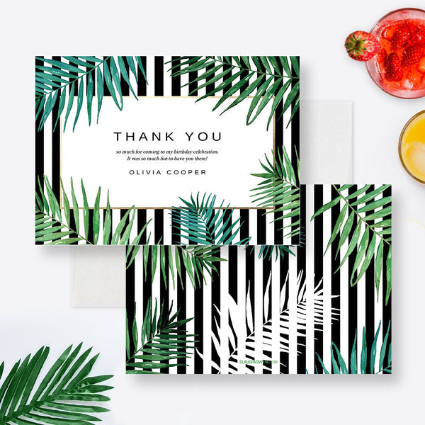 Tropical Thank You Card Edit Yourself Template,  Editable Thank You Digital Download, Greenery Printable Personalized Thank You Card