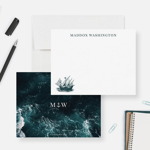 Sailing Ship Nautical Flat Note Card, Nautical Stationery Boat Thank You Card Set, Sea Lover Custom Note Card Gift For Sailor, Ocean Water