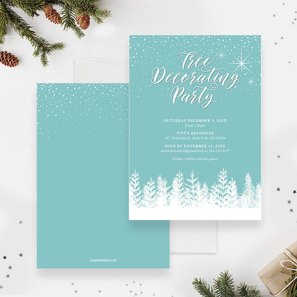 Tree Decorating Holiday Party Invitation Edit Yourself Template, Christmas Decorating Printable Digital Download, Decorating The Tree