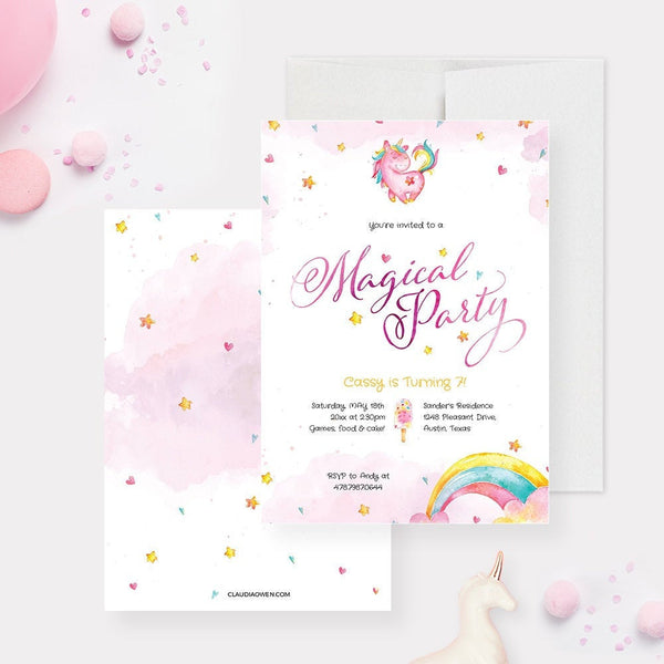 Unicorn Birthday Party Invitation Edit Yourself Template, Magical Party Digital Download, Magical Unicorn Printable Invitation