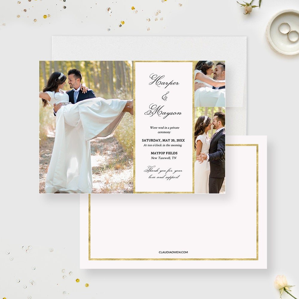 Just Married Wedding Announcement Card Edit Yourself Template, Marriage Photo Wedding Cards We Eloped Editable Printable Template