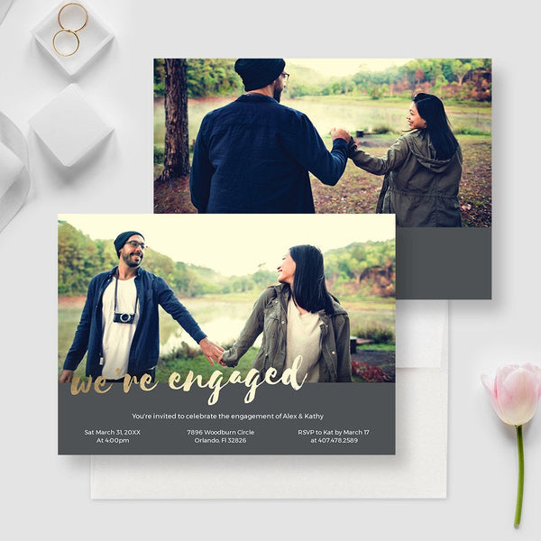 We're Engaged Photo Invitation Edit Yourself Template, Engagement Party Invites Digital Download, Getting Married, Engagement Invitation