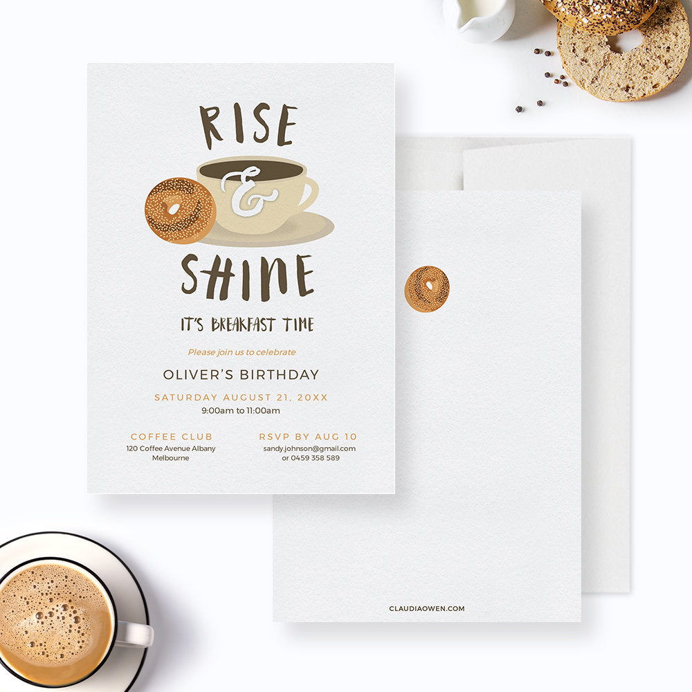 Rise and Shine Birthday Breakfast Party Invitation Edit Yourself Template, Coffee and Bagel Printable Digital Download, Breakfast Invite