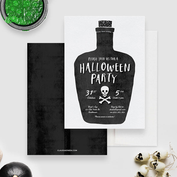 Halloween Party Invitation Edit Yourself Template, Halloween Digital Download Poison Bottle, Halloween Printable Invite Instant Download