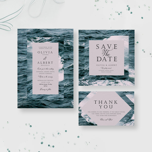 Cruise Wedding Party Invitation, Beach Seaside Wedding Stationary Matching Set, Nautical Wedding Destination Tropical Travel Wedding