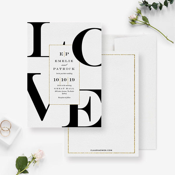 Love Wedding Suite Party Invitation, Romantic Wedding Matching Set Save The Date Thank You Card, Romantic Wedding Stationery