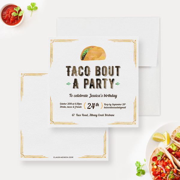 Taco Bout A Party Birthday Party Invitation, Mexican Birthday Party Fiesta Taco Mexican Feast, Mexican Food Cinco De Mayo Party