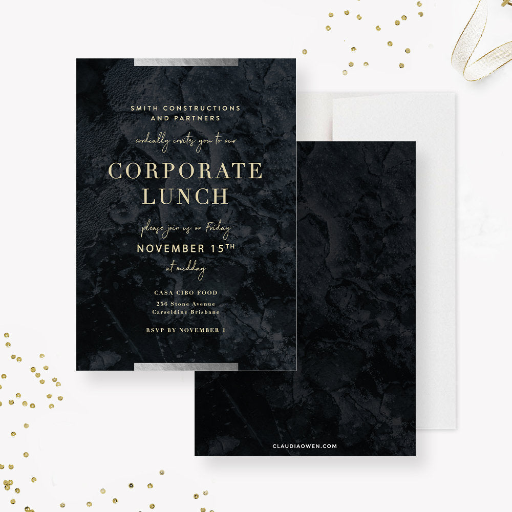 Corporate Event Party Invitation, Elegant Business Party Company Dinner, Professional Office Party Formal Work Function