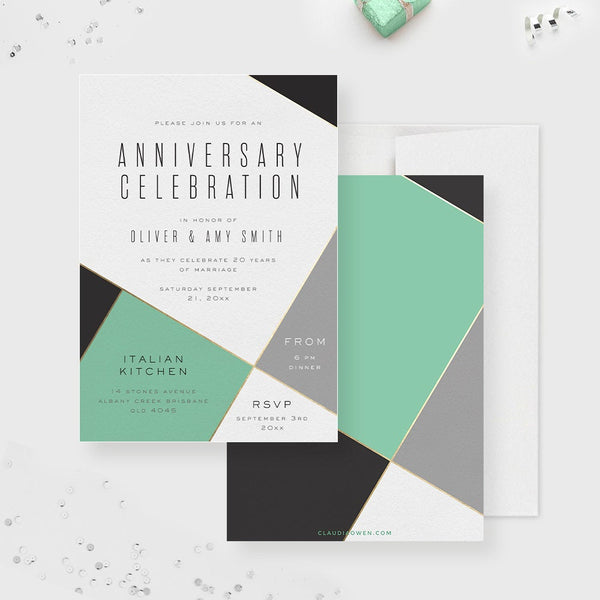 Work Business Anniversary Party Invitation, Company Anniversary, Wedding Anniversary Dinner Invite Marriage Anniversary Celebration