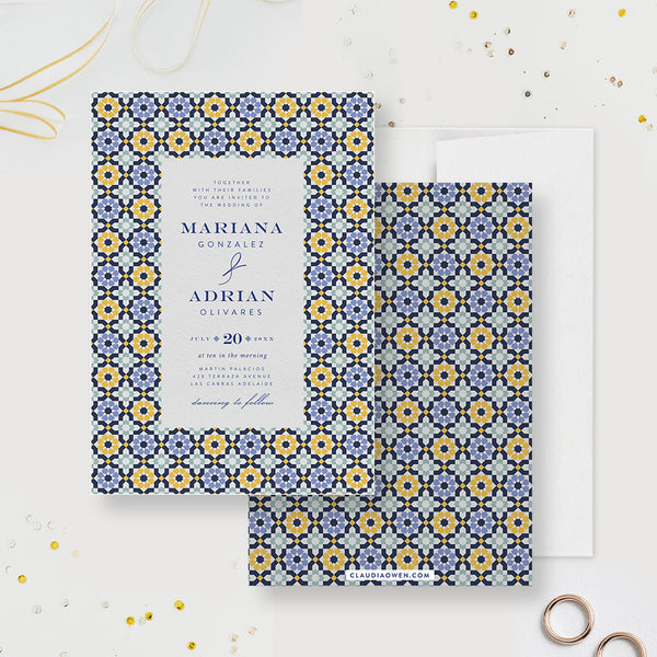 Italian Tile Wedding Invitation Matching Set, Personalized Save the Date, Thank You Card, Destination Wedding Suite Italy Wedding Stationery