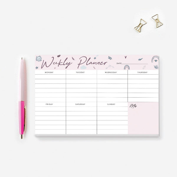 Weekly Planner Floral Notepad, Kid's School Notepad Planner, Cute Personalized Desk Notepad Floral To Do List Life Organizer Desk Pad
