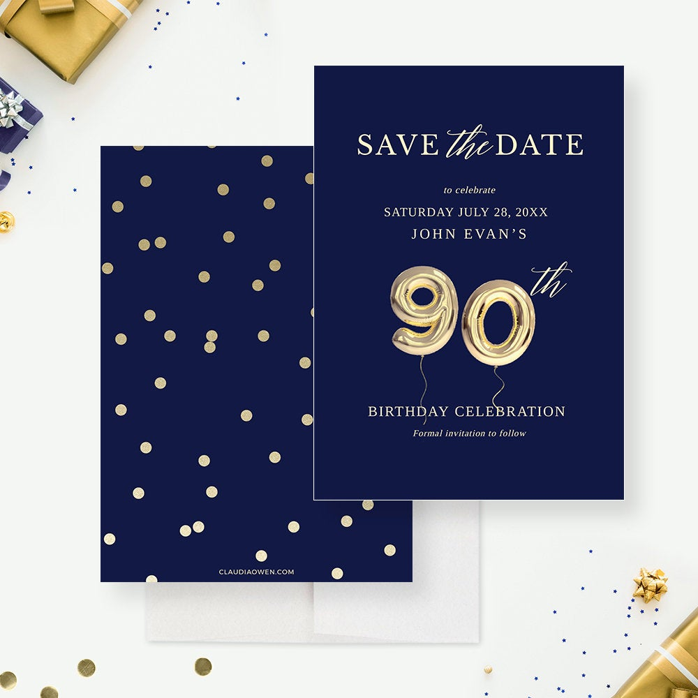 90th Save the Date Card Edit Yourself Template, 90th Ninetieth Ninety Birthday Balloon Digital Download, 90th Business Anniversary