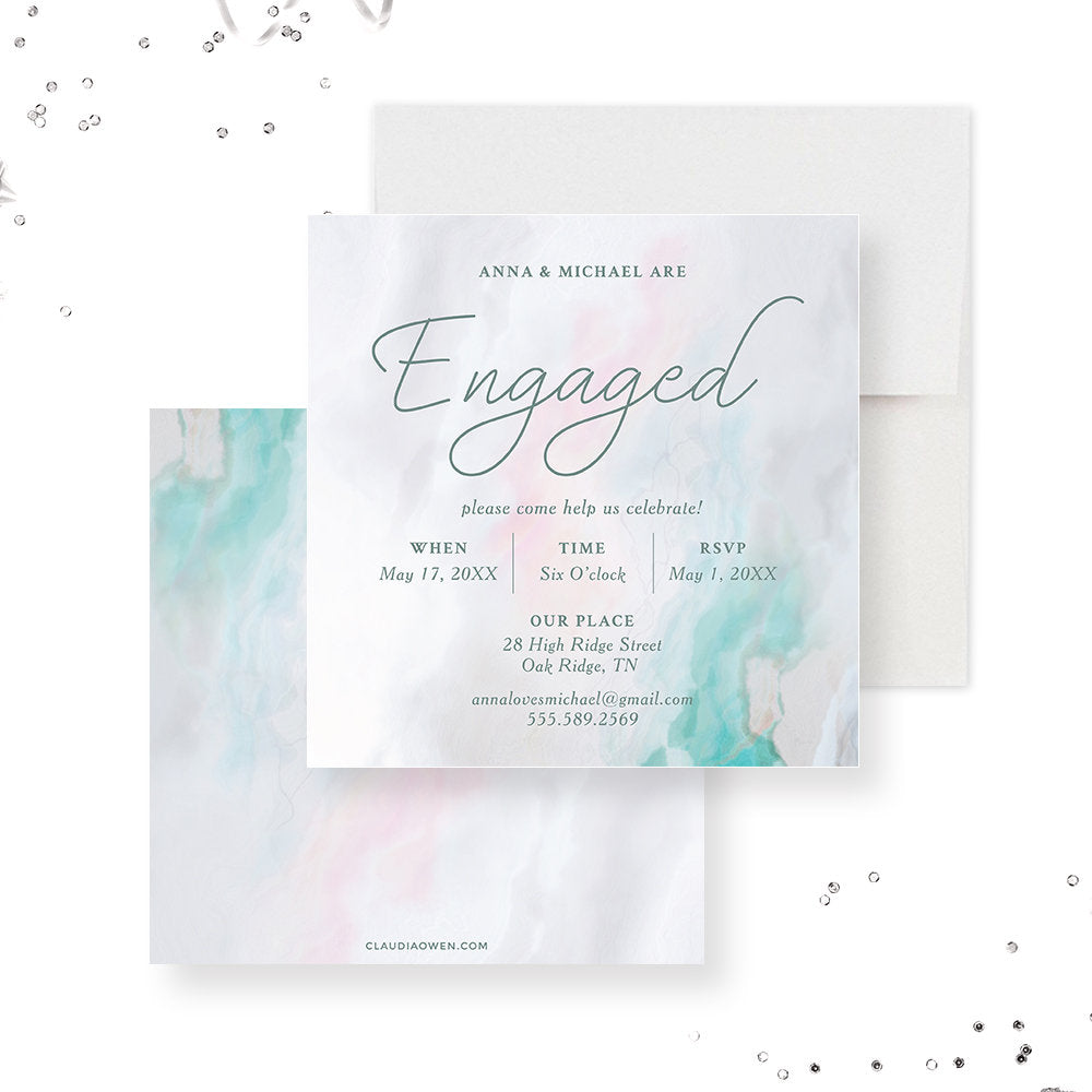 Modern Engagement Party Invitation, Engagement Dinner Invites, Marble Invitation We Are Engaged Getting Married
