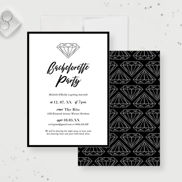 Diamond Bachelorette Party Invitation, Hens Night Hen Party, Simple Elegant Bachelorette Weekend Invite, Custom Fun Bachelorette Last Fling