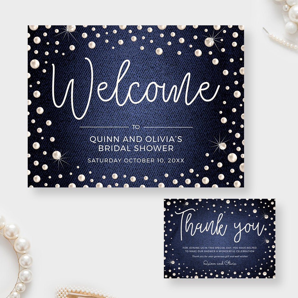Denim and Pearls Welcome Sign and Thank You Card Editable Template, Pearl Digital Download, Couple's Baby Shower Denim Party Printable