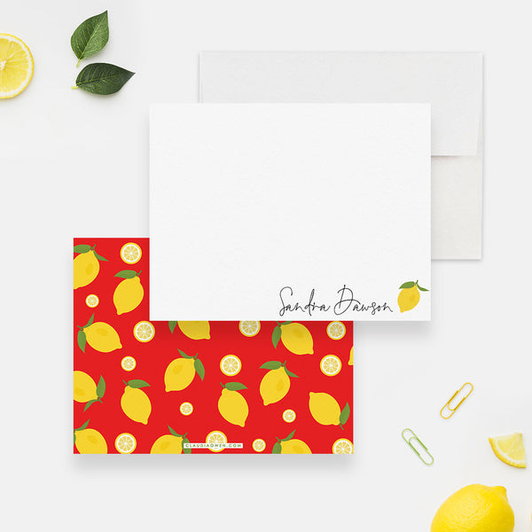 Personalized Lemon Note Card, Botanical Stationery Set, Citrus Lemon Theme Baby Shower Thank You cards, Lemon Lover Stationary Gift