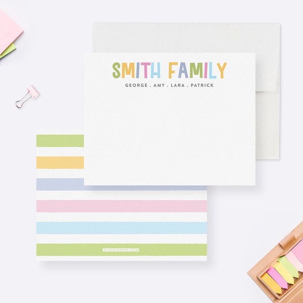 Personalized Family Stationary Note Card Set, Custom Colorful Modern Thank You Cards with Envelopes, Custom Children Housewarming Stationery