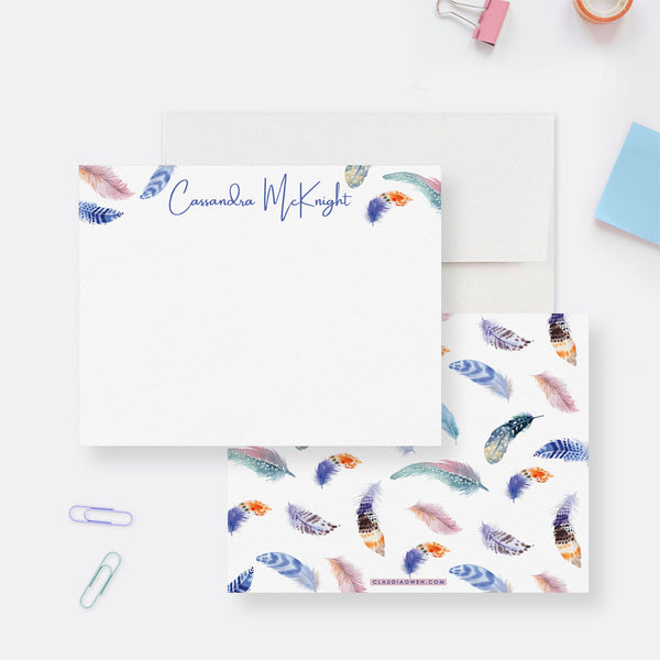 Personalized Feather Stationary Set for Women Teens, Custom Boho Note Card Set Bohemian Feather Thank you Cards, Girls Stationery Paper