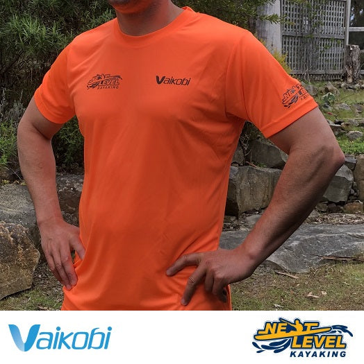 Vaikobi V OCEAN S/S UV PERFORMANCE TOP Fluro Orange Next Level Kayaking Shop Tasmania Australia Paddling Hobart Coaching