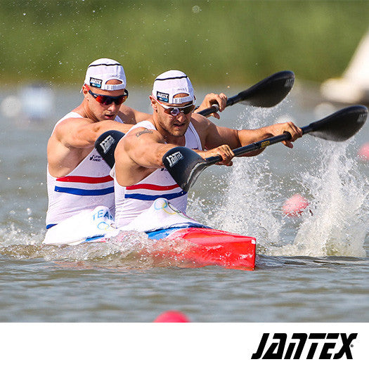 Schofield and Heath paddling with Gamma RIO Jantex Paddles