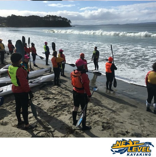 NLK Next Level Kayaking Beach Break and Beyond course with Ben Maynard Group Surfski Surf Ski Training Hobart Tasmania
