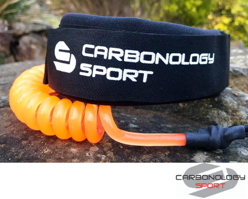 Carbonology Sport 2 Piece Leg Leash - Orange - Next Level Kayaking - Hobart Tasmania Australia Paddling Coaching Shop