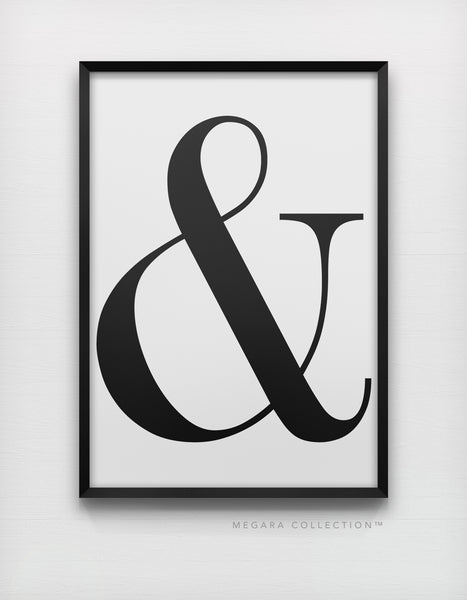 Ampersand & typography art print, black and white modern serif wall poster
